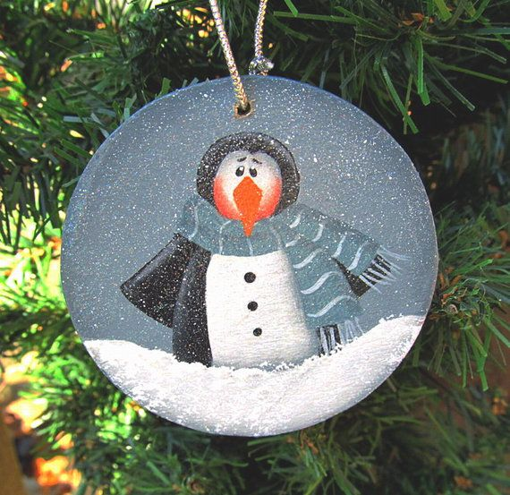 penguin christmas wood ornament hand painted by paintingbyeileen my painted creations. Black Bedroom Furniture Sets. Home Design Ideas