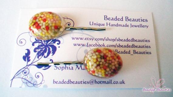 Resin Hair Slides REAL SPRINKLES  Bobby pin by SBeadedbeauties, £4.00
