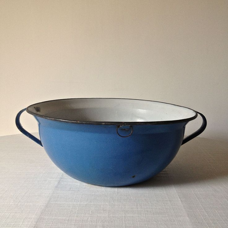 Beautiful and practical - large enamel bowl from Eastern Europe. www.thecleverhampercompany.co.uk