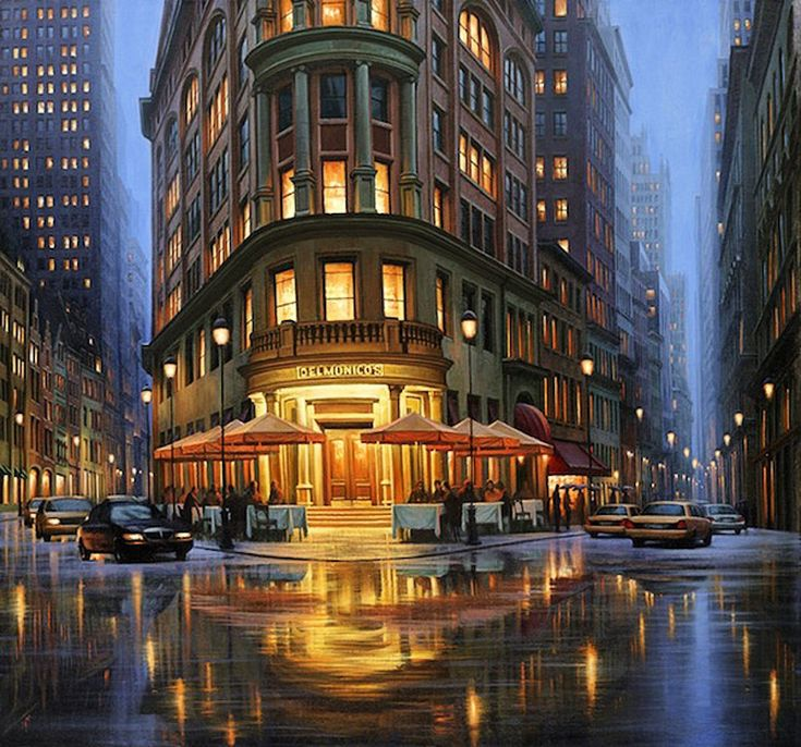 Beautiful Night Cityscapes Paintings11
