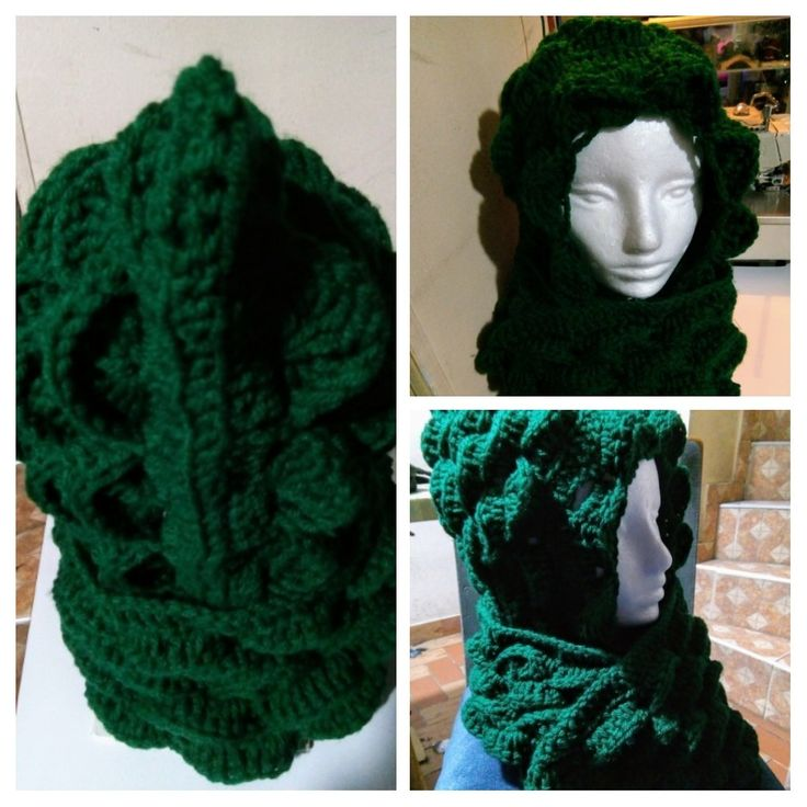 Gorro bufanda, estilo cocodrilo tejido a crochet.