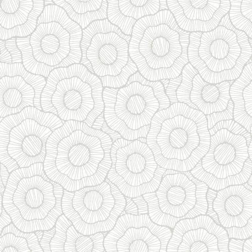 York Wallcoverings ST6004 Paper Muse Wild Poppies Wallpaper, Grey metallic