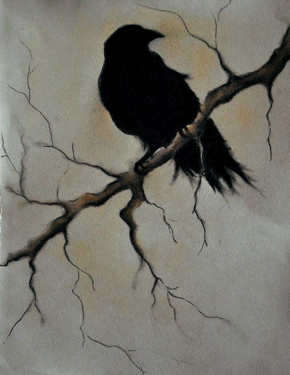 "Raven on a branch 2 ORIGINAL charcoal drawing 9.5""x12"" dark gothic bird art"