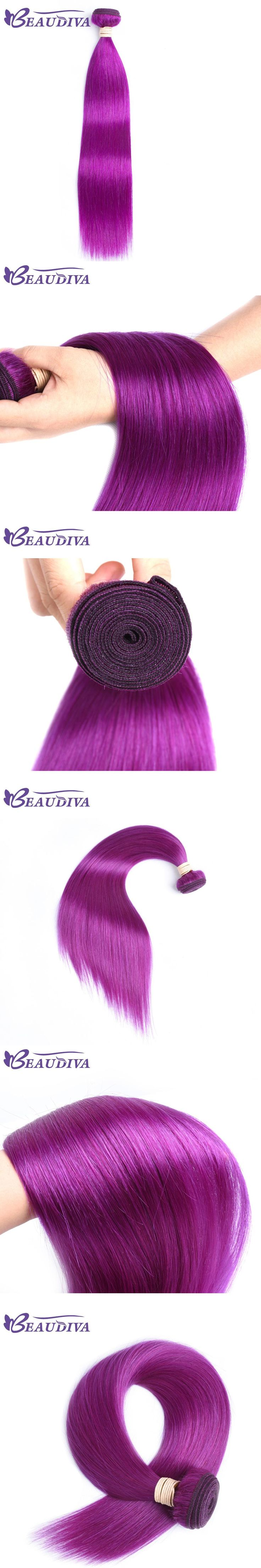 BEAUDIVA Pre-Colored Human Remy Hair Weave Straight Purple Color Remy Hair Bundles 10-24inch