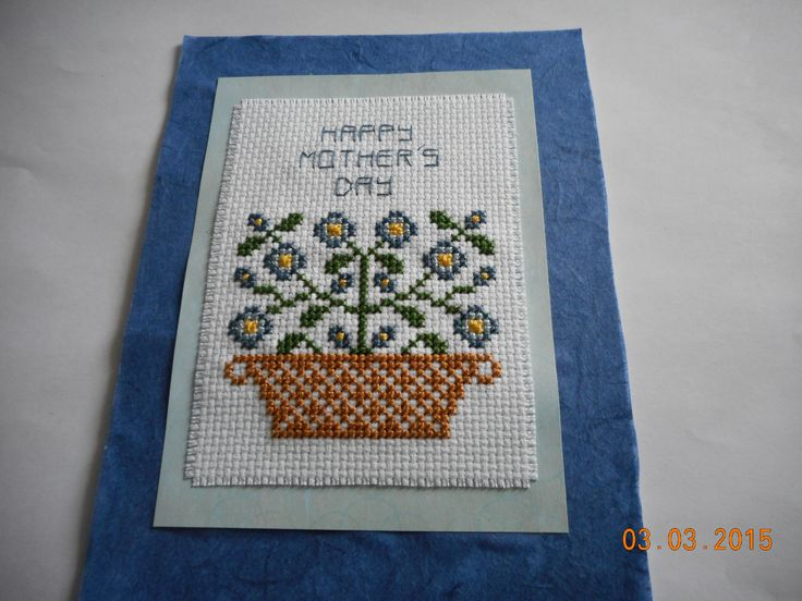 cross stitch Mother's Day card  available in my etsy shop:  debbywebbyscards