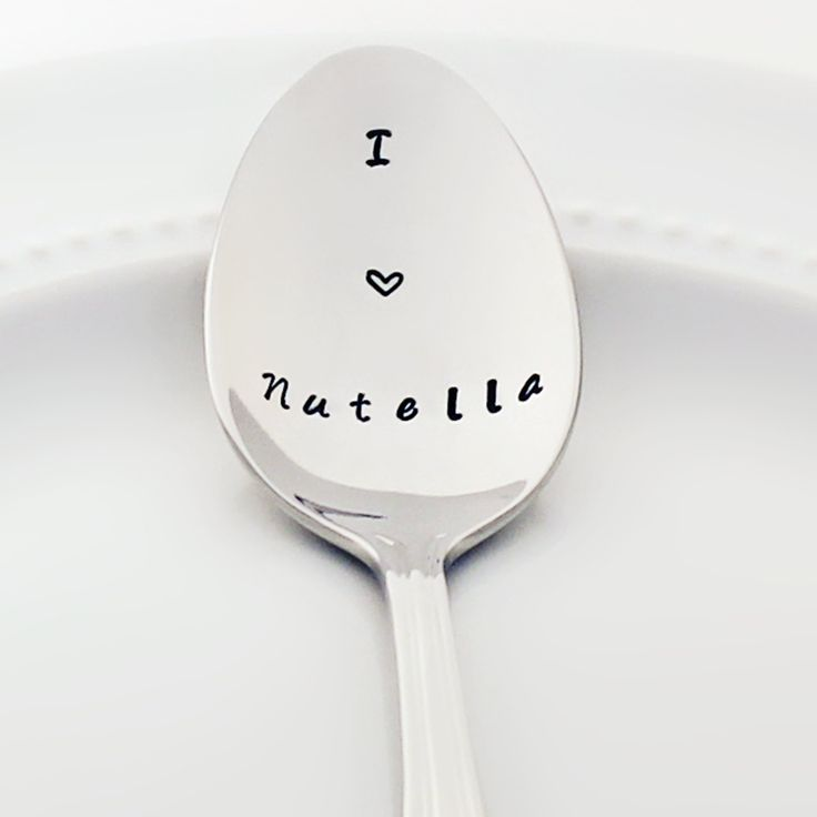 Stamped Spoon - I (heart) Nutella - Stainless Steel (coffee spoon, tea spoon)