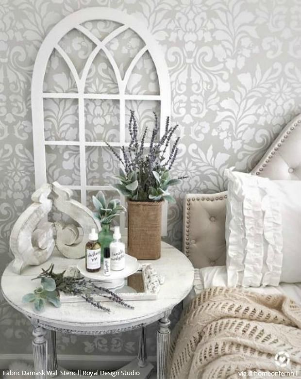 . Stencil Your Bedroom with a Classic Damask Wallpaper Look   Annie