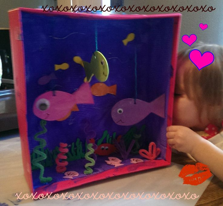 Make an aquarium out of a shoe box! These pets won't cost money, make messes or noise. A fun craft for kids and toddlers, not to mention you get to repurpose a shoebox! My daughter loves hers! - The Pinner Mom