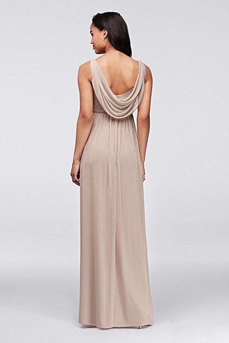 92542c4632f David s Bridal Long Mesh Bridesmaid Dress With Cowl Back Detail Style  F15933