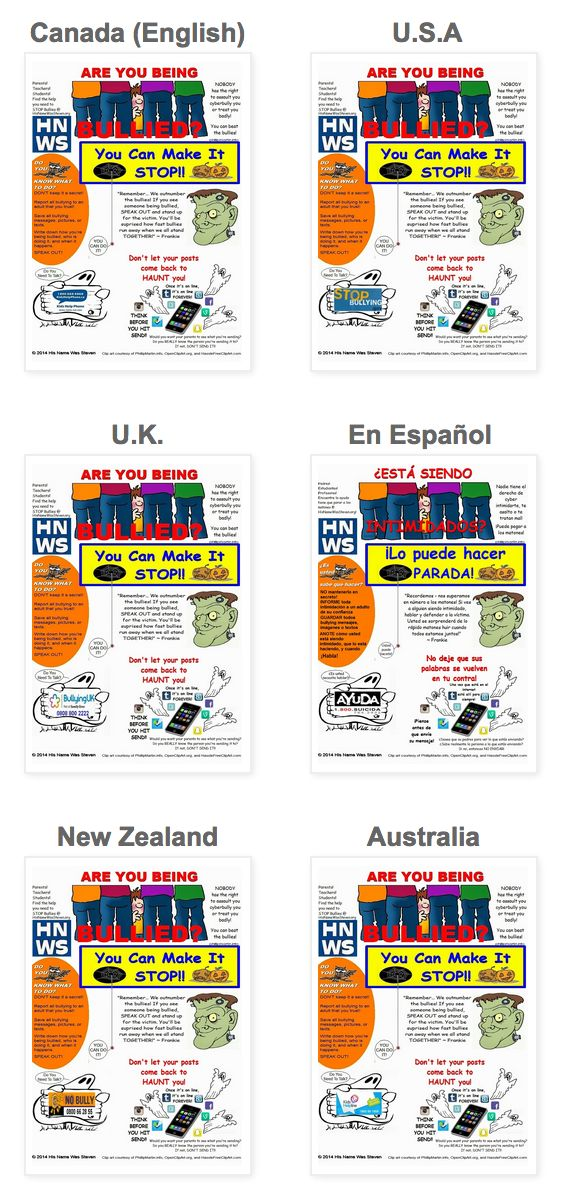 What's scarier than Hallowe'en ?  #Bullying! Arm trick -or-treaters with tools to help them deal with bullies. Print and give out these FREE anti-bullying Halloween themed printable posters available versions include Canada, USA, Australia, UK, New Zealand, and USA Español. Developed by a parent of a child who was driven to suicide by bullies.  - - - Ayudar a los niños se ocupan de los agresores.  Imprimir y dar un vistazo a estos GRATIS de Halloween anti-bullying temáticas carteles…