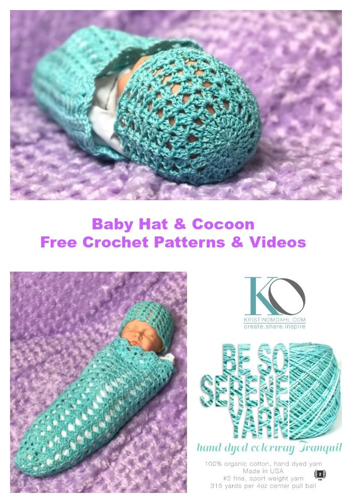 How to Crochet Easy Beginner Baby Hat and Cocoon Free