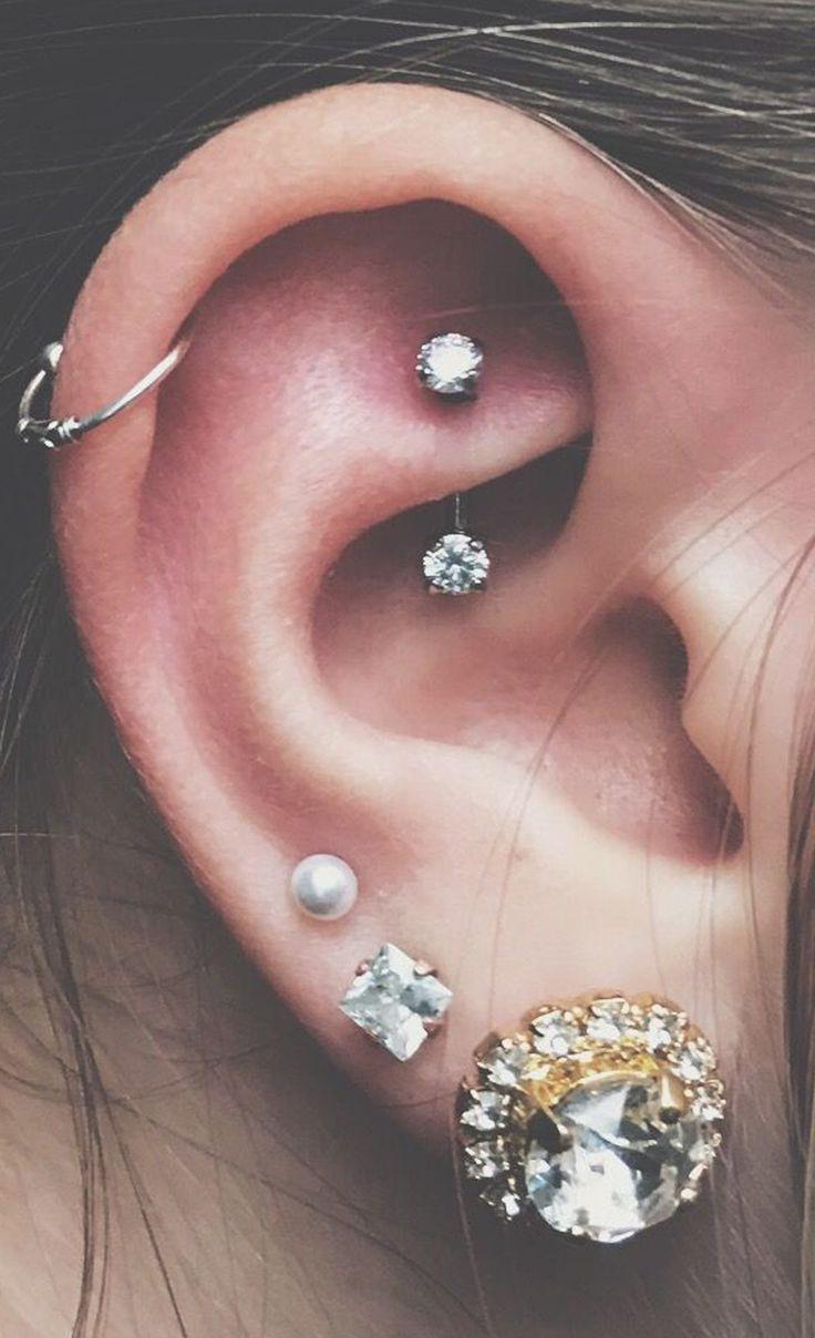 cute rook ear piercing ideas multiple earrings jewelry - www.mybodiart.com
