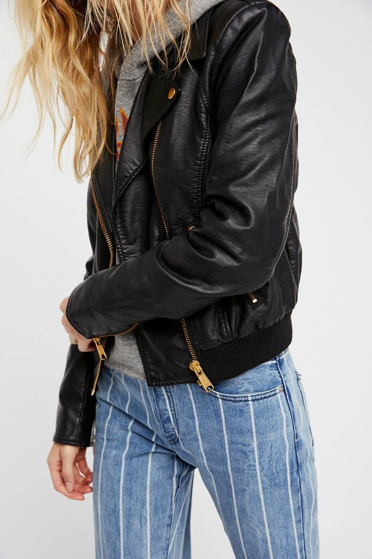 Modern Vegan Bomber Jacket | Edgy vegan leather bomber jacket featuring gold-toned hardware.  * Front zip closure * Side zip pockets * Ribbed knit hem * Lined