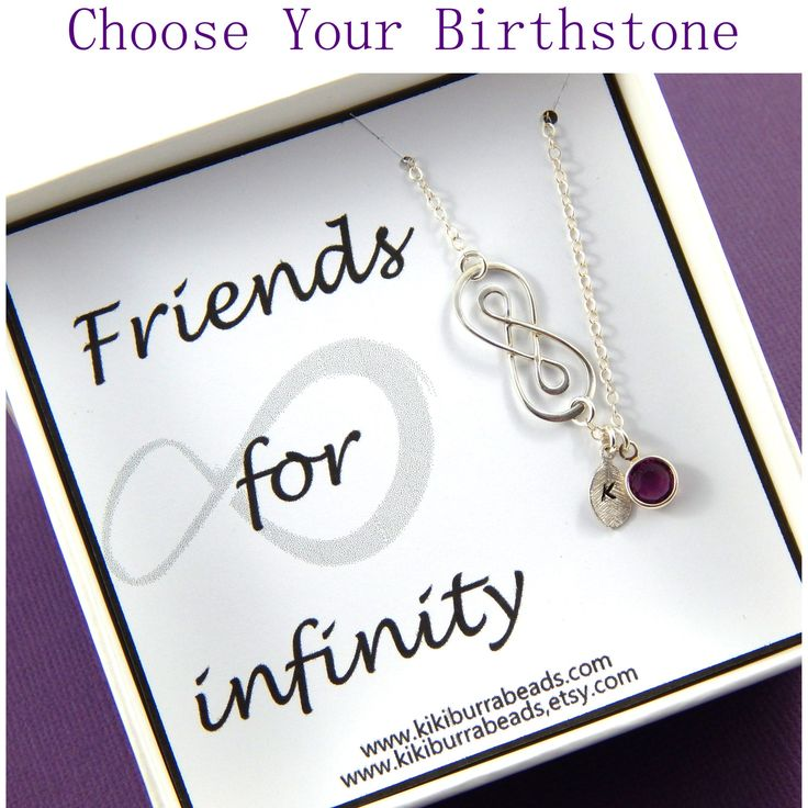 Friends for Infinity personalized birthstone necklace , best friend necklace, sisters necklace,birthstone necklace, Double infinity necklace by Kikiburrabeads on Etsy
