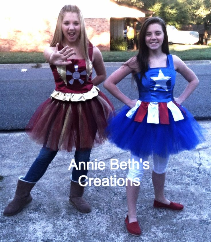 Made my daughters tutu costumes of their favorite super Heroes, Iron Man and Captain America!!  By Annie Beth