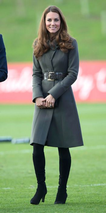 OCTOBER 9, 2012 The Duchess stepped out for the launch of the Football Association's National Football Centre at St. George's Park, and she traded in her soccer sneaks for classy black boots and the heather grey Reiss Angel coat from the fall/winter 2010 collection, which she cinched with the brand's Betony belt.