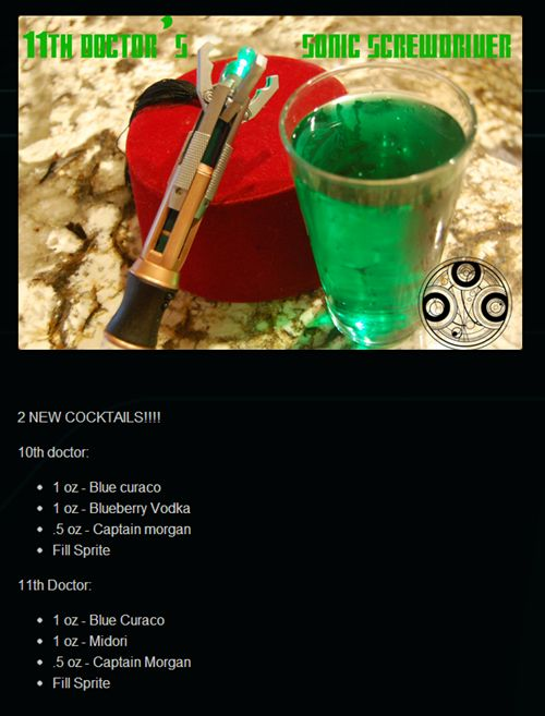 """Dr. Who Sonic Screwdriver drink! """"A drink fit for a Timelord"""""""