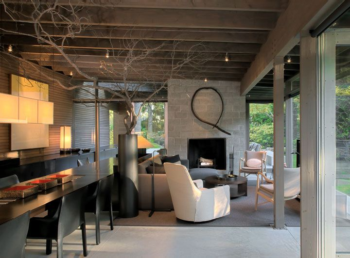 rustic urban cabin  - like this as the feel of our space - dining room chairs -concrete block fireplace or stacked stone/textured and minimal but not  - love lighting  ceiling color - suyama peterson - deguchi