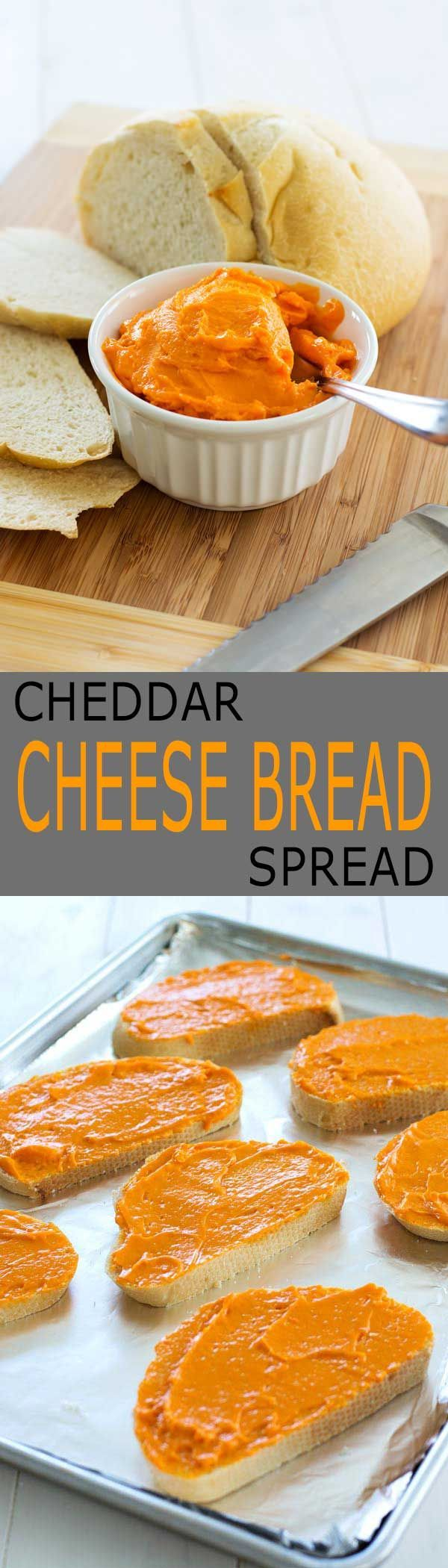 Cheddar cheese spread recipe for the best cheesy bread you've ever had! Spread…