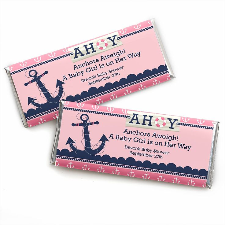 Ahoy - Nautical Girl - Personalized Baby Shower Candy Bar Wrapper Favors   BigDotOfHappiness.com