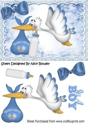 Special delivery stork with baby boy bottle on Craftsuprint - Add To Basket!