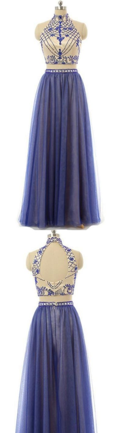Two Piece Prom Dresses, A-line Prom Dresses, Blue Prom Dresses, Sleeveless Prom Dresses, Two Piece Dresses, Two Piece Prom Dresses, Prom Dresses Blue