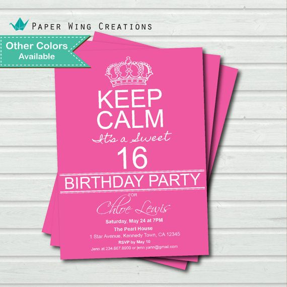 Sweet Sixteen birthday invitation. Color by ThePaperWingCreation, $13.00
