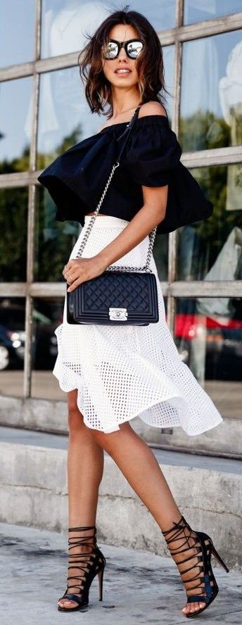Black Off The Shoulder Crop Top + White Eyelet Skirt