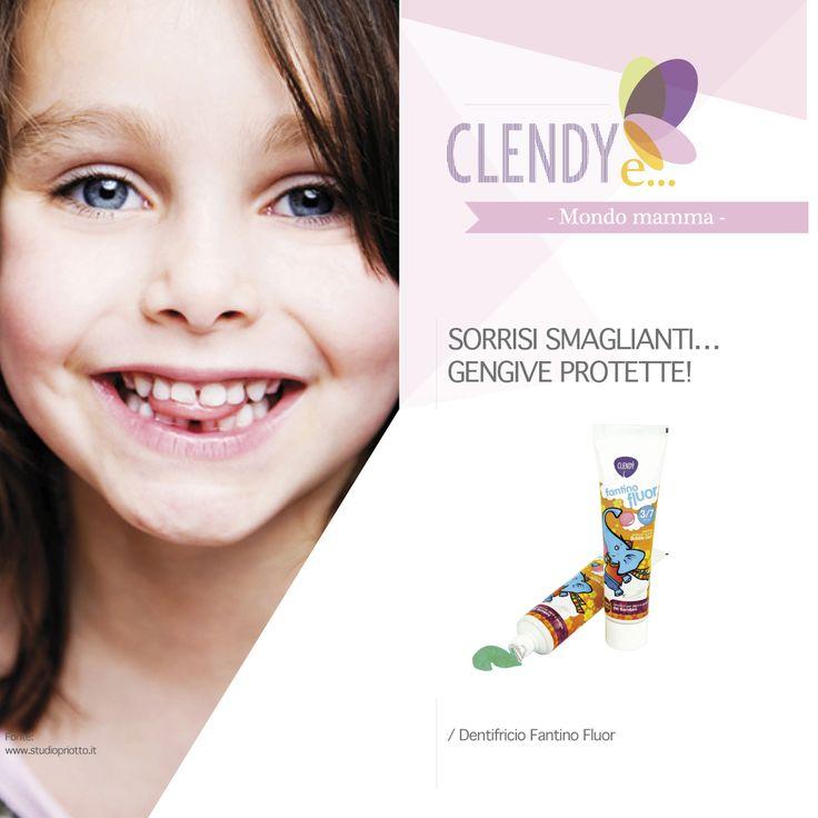 SORRISI SMAGLIANTI…GENGIVE PROTETTE! Per quanto è importante l'educazione all'igiene orale dei bimbi, tanto è difficile convincerli a seguirla attentamente. Pertanto mamme e papà, Clendy ha pensato di venire incontro alle vostre esigenze e quelle dei vostri figli, progettando un dentifricio appositamente studiato per l'igiene orale dei bambini dai 3 anni in su. I bimbi ridono in media 400 volte al giorno, aiutiamoli sin da piccoli ad avere un sorriso unico e splendente.