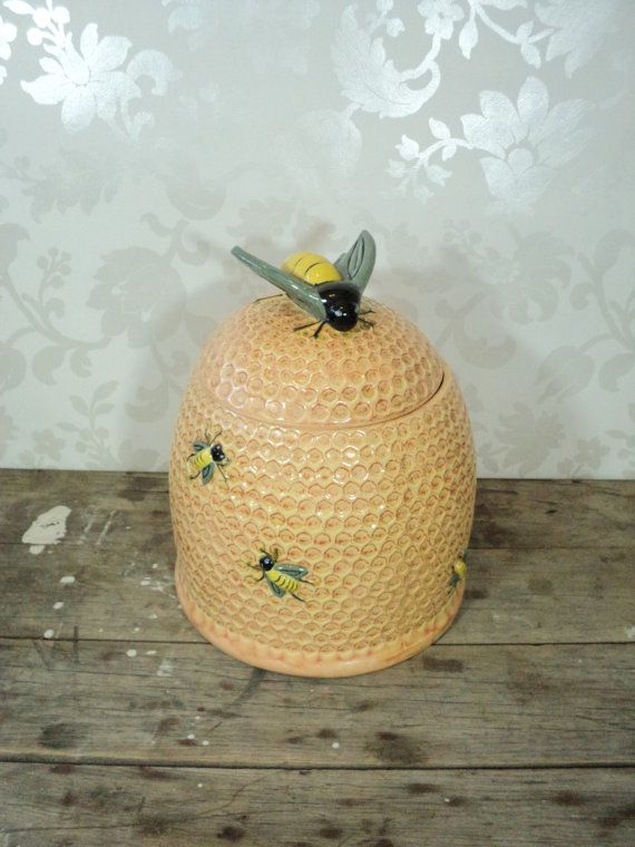 Canister Cookie Jar Bee On A Beehive Honeybee By Littlecleoathome, $40.00