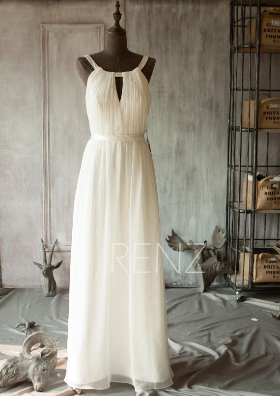 2015 Off White Bridesmaid dressChiffon Spaghetti Strap by RenzRags