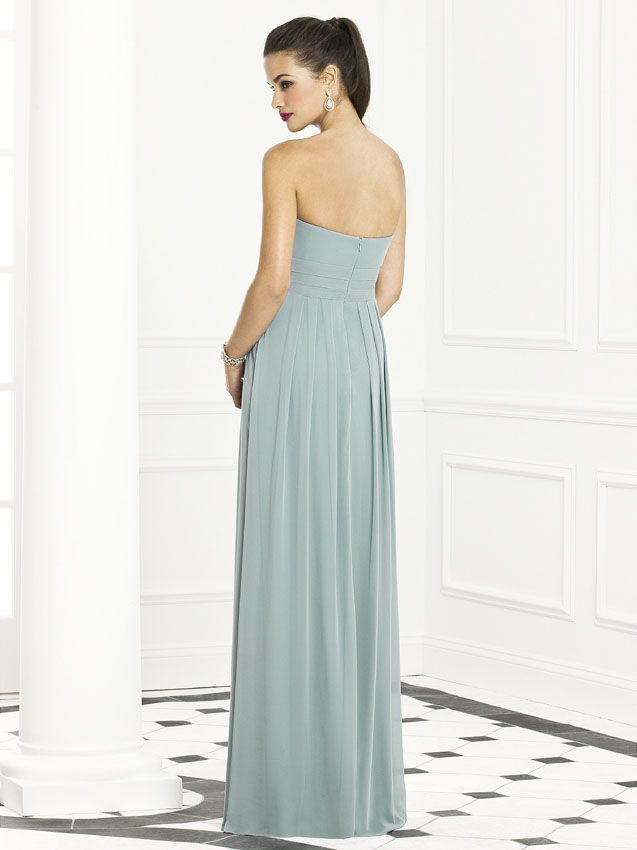 With the perfect number of flat pleats across the front of the long skirt, you can see the slimming silhouette which will make it right for every body type. After Six 6669 Bridesmaids is a simple style done magnificently! Choose the color of your dreams and make your wedding picture perfect! #timelesstreasure