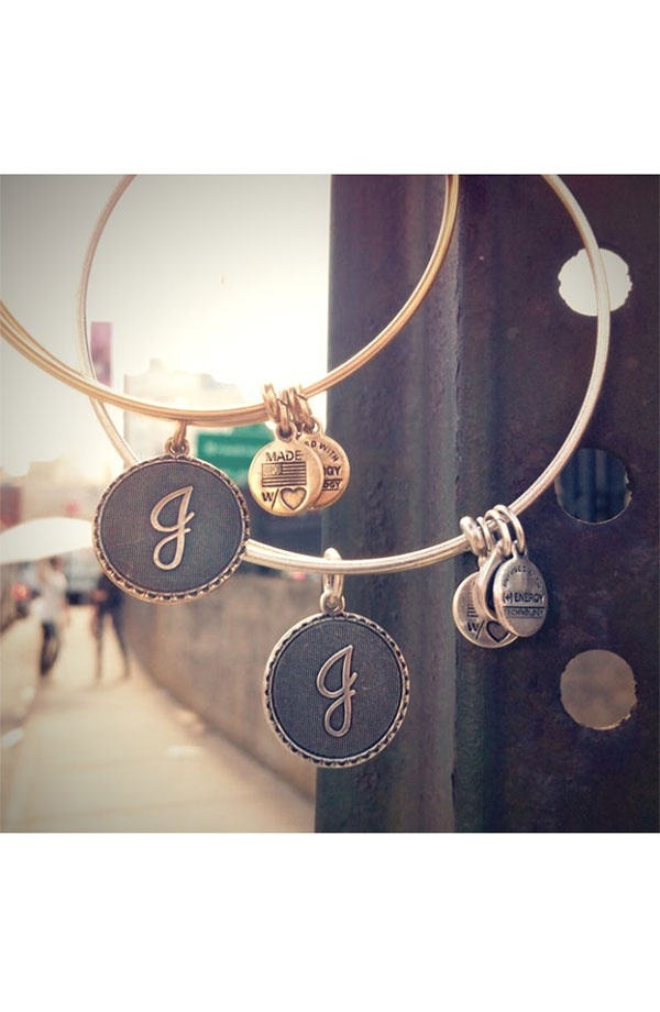 Alex and Ani Script Initial Bangles // Obviously, it's meant for me to have these, as they used Js for their photo.  :)