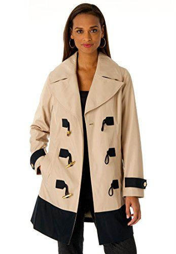 Elevate your rainy day look with this military-inspired raincoat, that pairs perfectly over your everyday outfits. in a straight fit for a classic military inspired silhouette 34 length ends at mid-thigh notch collar is perfectly proportioned long sleeves with set-in armholes and banded button cuffs contrast hem, cuffs, and loops with gold tone toggles side welt pockets, fully lined polyester dry clean; imported Plus size raincoats in sizes 12, 14, 16, 18, 20, 22, 24, 26, 28  Fit and ...