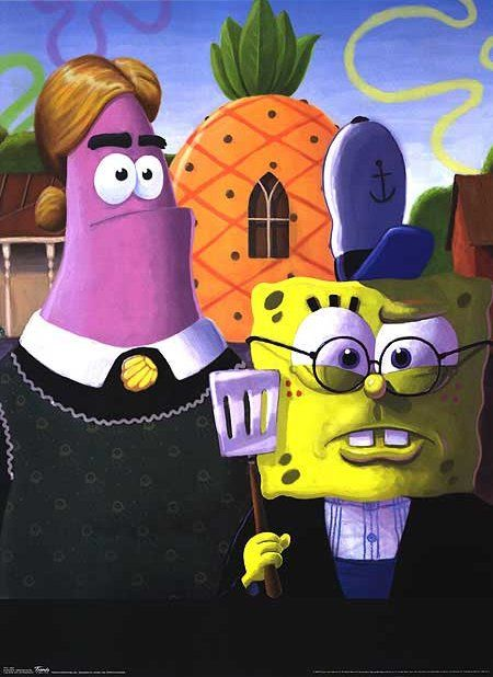 Sponge Bob and Patrick a la American Gothic. (They still have the gothic window in the pineapple!)
