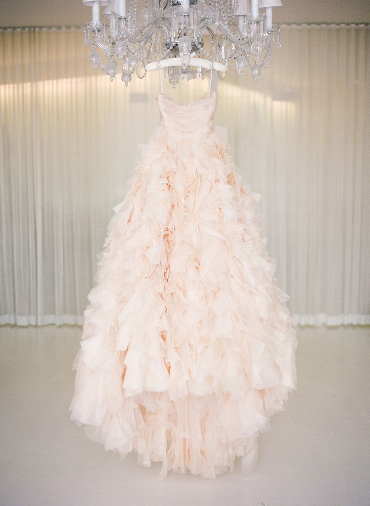 Blush Wedding Gown by Monique Lhuillier - See the wedding on SMP, here: http://www.StyleMePretty.com/2014/05/28/romantic-glamour-in-miami/ Photography: KTMerry.com