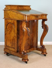 Antique Victorian Burr Walnut Davenport Writing Desk  c.1860