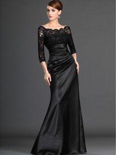 A-line/Princess Off the Shoulder 3/4 Sleeves Elastic Woven Satin Dresses