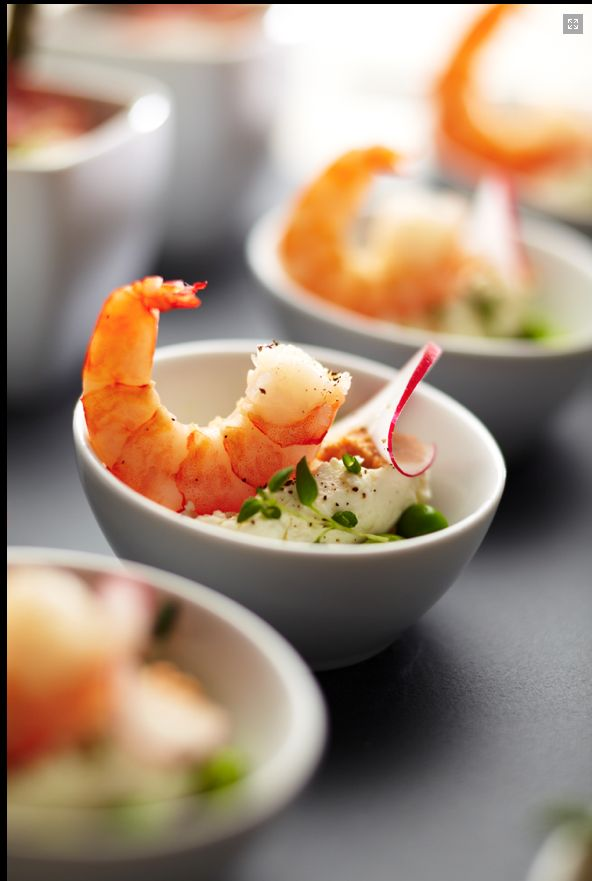 King prawn amuse bouche. I enjoyed creating several different tasty morsels for this appetiser set.