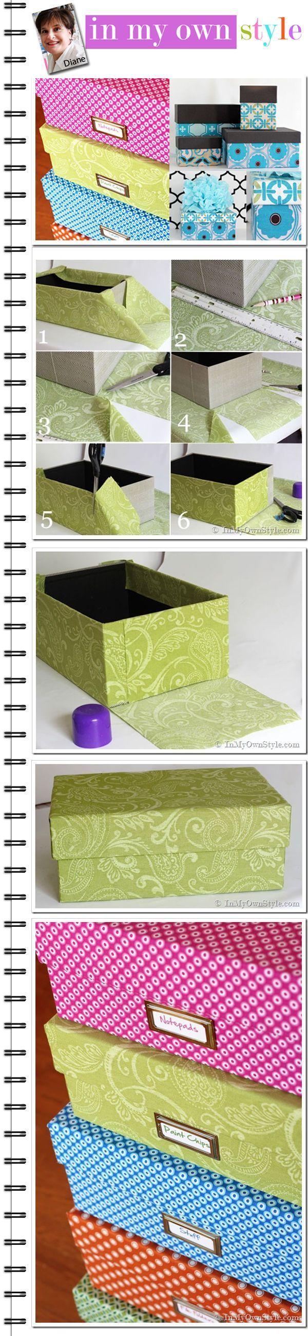 One Yard Dcor: Fabric Covered Boxes... could also use shoe boxes with lids attached or detached