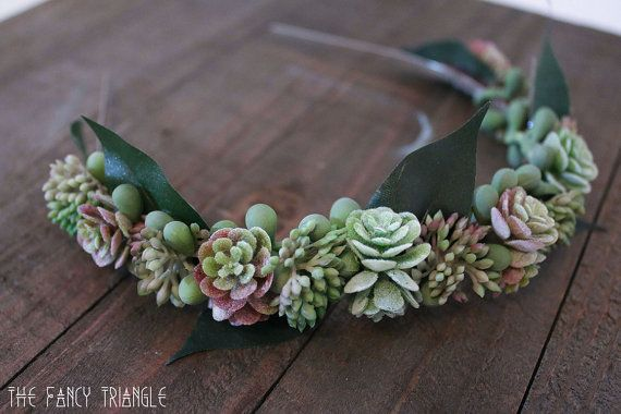 Handmade Succulents Bridal Headband faux by TheFancyTriangle