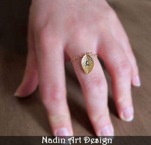 Goldring mit Blatt. Freundschaftsring. Geschenk von NadinArtDesign auf DaWanda.com