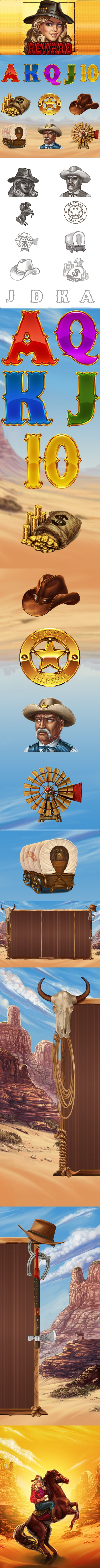 Slot-machine - Wild west by SLOTOPAINT game design, via Behance