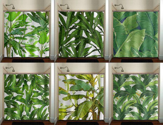 Tropical Jungle Green Palm Banana Leaf Shower Curtain bathroom decor fabric kids bath window curtains panels valance bathmat