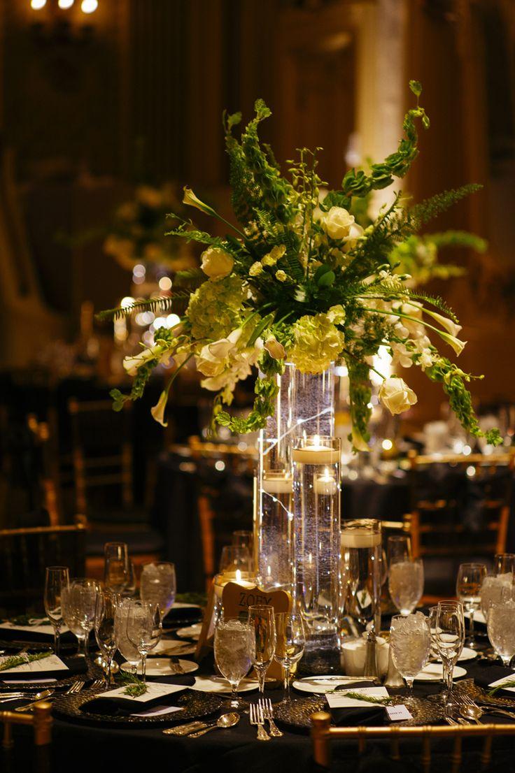 Simply elegant tall wedding centerpieces (Iluminada Photography)
