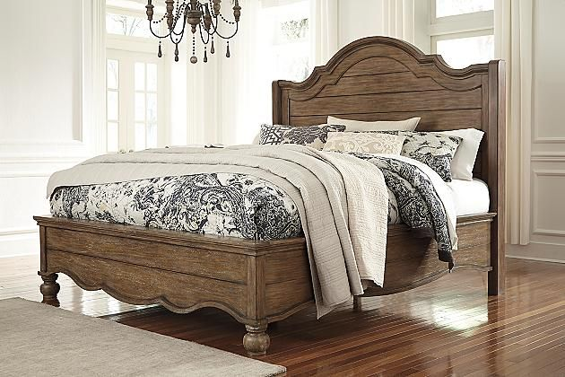 Light Brown Tanshire King Panel Bed View 1 Bedroom