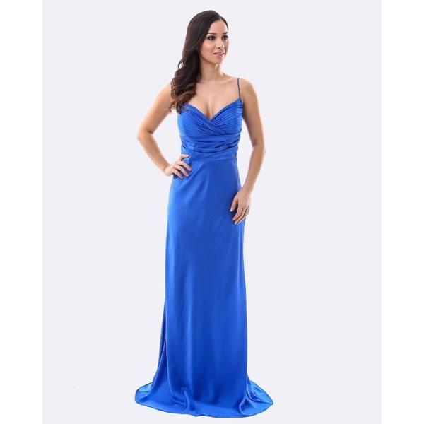 Satin Evening Dress - Blue