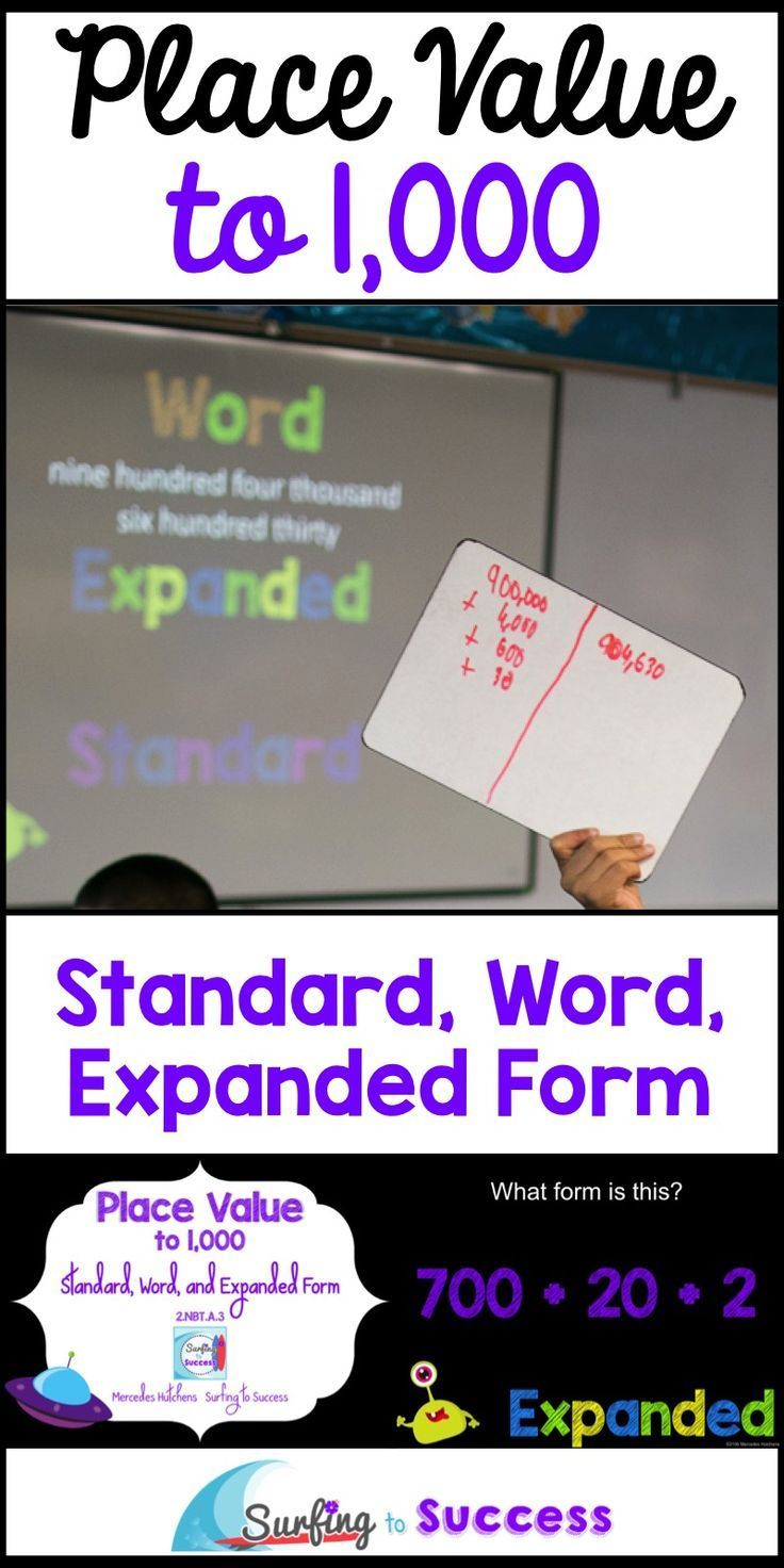 Place Value to 1,000 | Standard Form, Word Form, Expanded Form | This PowerPoint reviews place value to 1,000. Introduce your students to standard form, word form, and expanded form. Students will identify numbers in the different forms to learn the vocabulary. Given a number in one form, students write it in the other two forms.