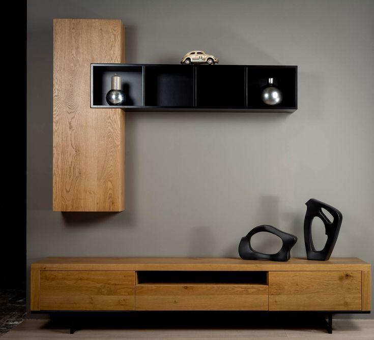 Μοντέρνα σύνθεση G.Alba με επιτοίχιο κρεμαστό χώρο αποθήκευσης σε φυσικού ξύλο δρυ συνδυασμένο με λάκα. Προσαρμόζεται σε διαστάσεις και χρώμα της επιλογής σας.