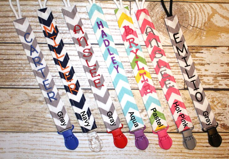 Personalized Pacifier Clips with plastic clip, Chevron Pacifier Clips - Mam Gumdrop Nuk Avent Soothie Binky Clips by InfantlyCuteBoutique on Etsy